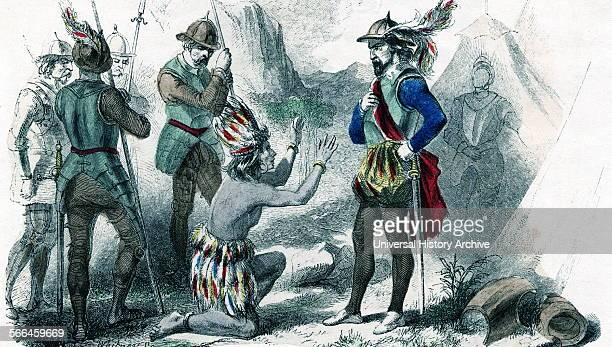 Atahualpa last Inca before the Spanish conquest Seen here kneeling before the Spanish Conquistador Pissarro during the Spanish conquest the Spaniard...