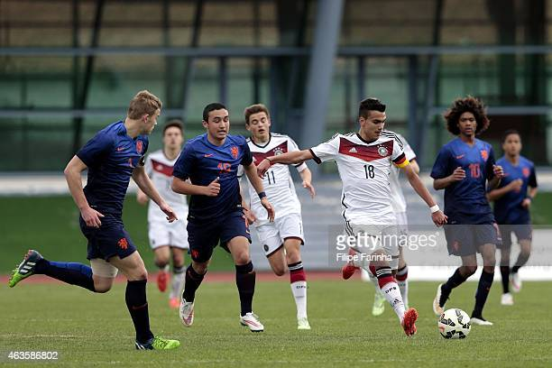 Atakan Akkaynak of Germany challenges Ugur Altintas of Netherlands during the U16 UEFA development tournament between Germany and Netherlands on...