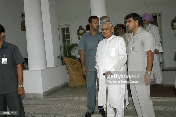 Atal Bihari Vajpayee former Prime Minister of India and others coming out after the meeting with APJ Abdul Kalam President of India at Rashtrapati...