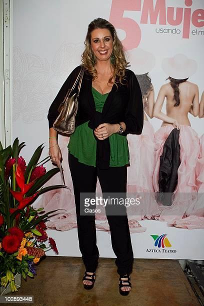 Atala Sarmiento poses for a photograph at the red carpet of Cinco Mujeres Usando el Mismo Vestido at Telon de Asfalto Theater on July 13 2010 in...