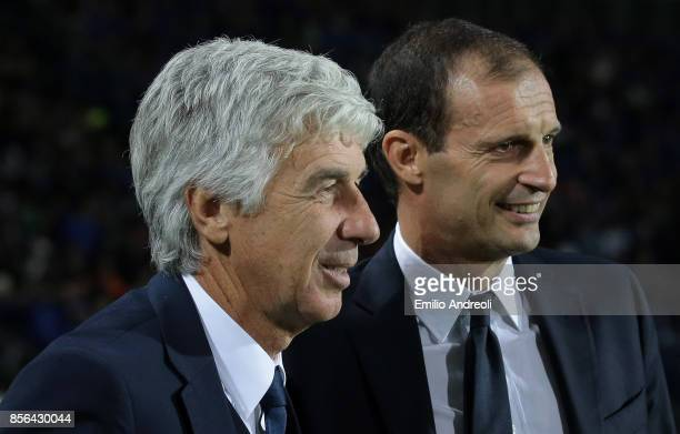 Atalanta BC coach Gian Piero Gasperini and Juventus FC coach Massimiliano Allegri look on prior to the Serie A match between Atalanta BC and Juventus...