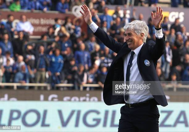 Atalanta BC coach Gian Piero Gasperini controls the ball during thecelebrates a victory at the end of the Serie A match between Atalanta BC and...