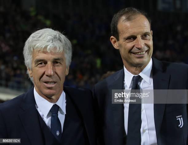 Atalanta BC coach Gian Piero Gasperini embraces Juventus FC coach Massimiliano Allegri prior to the Serie A match between Atalanta BC and Juventus at...