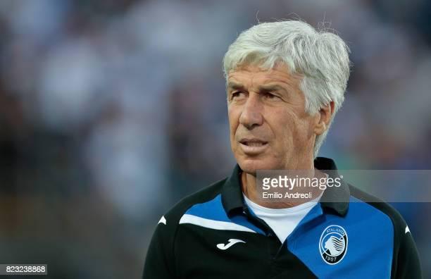 Atalanta BC coach Gian Piero Gasperini looks on before the preseason friendly match between Atalanta BC and LOSC Lille at Stadio Atleti Azzurri...