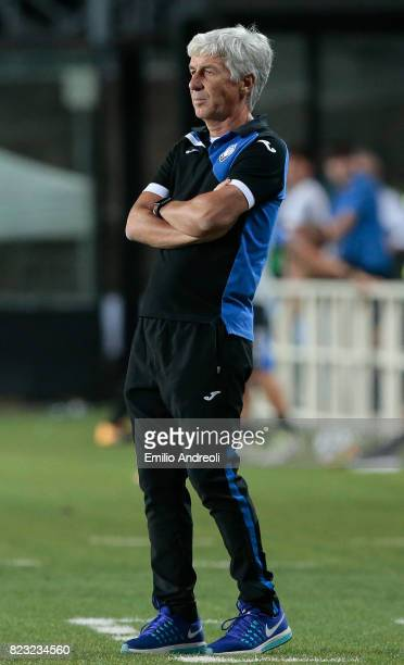 Atalanta BC coach Gian Piero Gasperini looks on during the preseason friendly match between Atalanta BC and LOSC Lille at Stadio Atleti Azzurri...