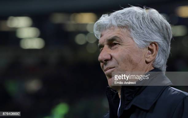 Atalanta BC coach Gian Piero Gasperini looks on prior to the Serie A match between FC Internazionale and Atalanta BC at Stadio Giuseppe Meazza on...
