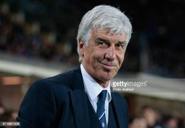 Atalanta BC coach Gian Piero Gasperini smiles before the Serie A match between Atalanta BC and Juventus FC at Stadio Atleti Azzurri d'Italia on April...
