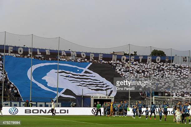 Atalanta BC fans shows their support during the Serie A match between Atalanta BC and AC Milan at Stadio Atleti Azzurri d'Italia on May 30 2015 in...