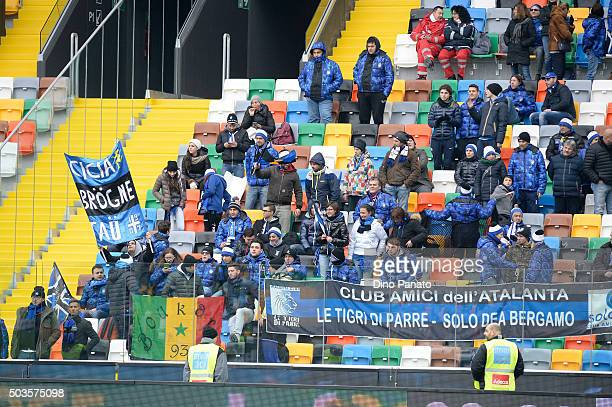 Atalanta BC fans shows their support during the Serie A match between Udinese Calcio v Atalanta BC at Stadio Friuli on January 6 2016 in Udine Italy