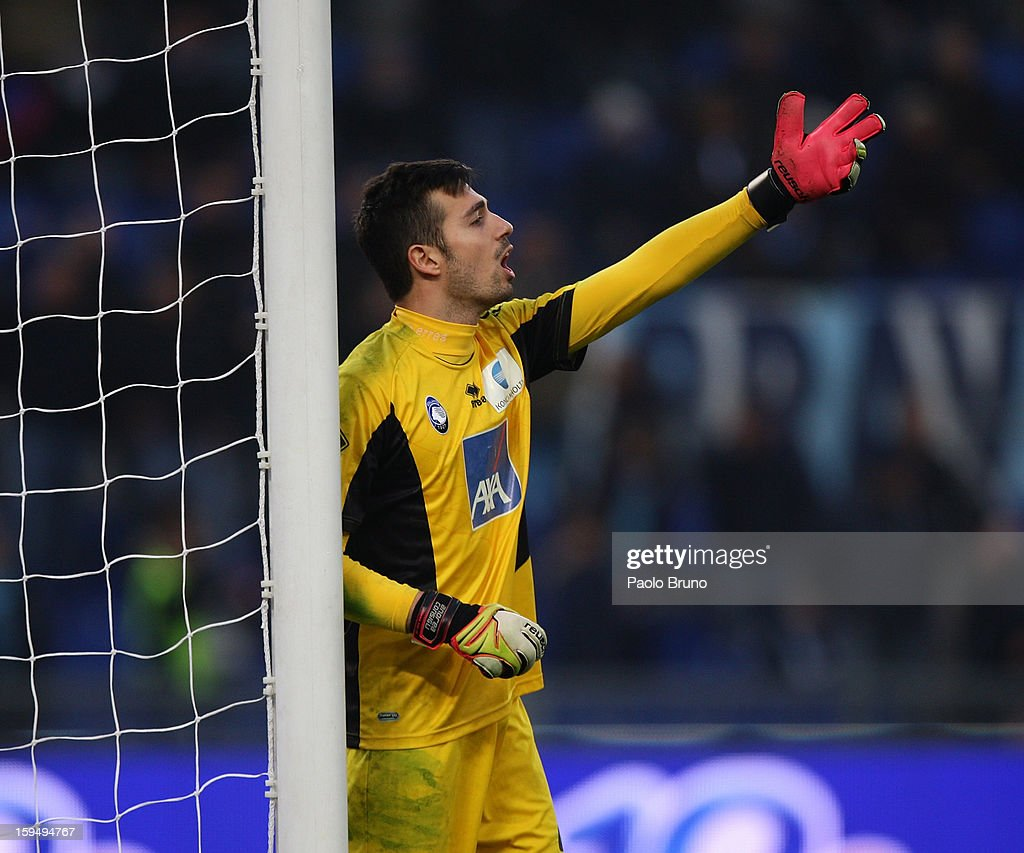 Atalanta BC goalkeeper <a gi-track='captionPersonalityLinkClicked' href=/galleries/search?phrase=Andrea+Consigli&family=editorial&specificpeople=5482490 ng-click='$event.stopPropagation()'>Andrea Consigli</a> gestures during the Serie A match between S.S. Lazio and Atalanta BC at Stadio Olimpico on January 13, 2013 in Rome, Italy.