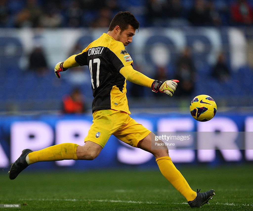 Atalanta BC goalkeeper Andrea Consigli in action during the Serie A match between S.S. Lazio and Atalanta BC at Stadio Olimpico on January 13, 2013 in Rome, Italy.