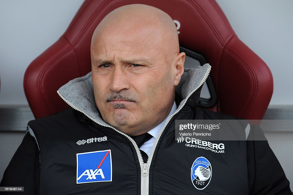 Atalanta BC head coach Stefano Colantuono sits on the bench prior to the Serie A match between Torino FC and Atalanta BC at Stadio Olimpico di Torino on February 17, 2013 in Turin, Italy.
