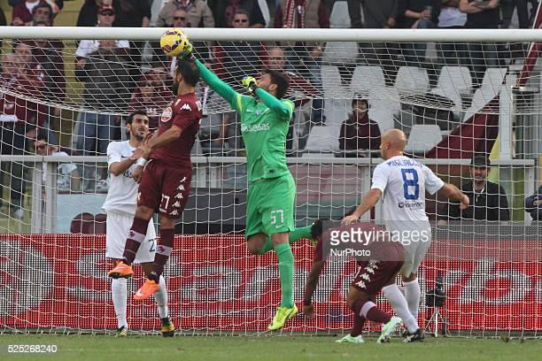 Atalanta goalkeeper Marco Sportiello fight for the ball against Torino forward Fabio Quagliarella during the Serie A football match n10 TORINO...
