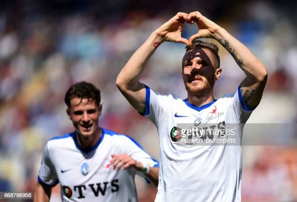 Atalanta midfielder from Slovenia Jasmin Kurtic celebrates after scoring during the Italian Serie A football match AS Roma vs Atalanta at the Olympic...