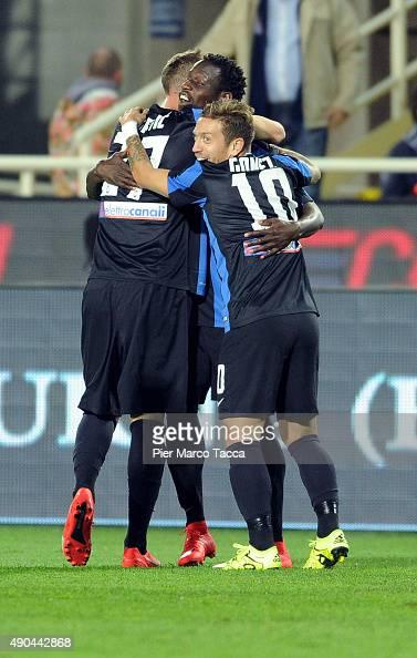 Atalanta players celebrate the first goal during the Serie A match between Atalanta BC and UC Sampdoria at Stadio Atleti Azzurri d'Italia on...
