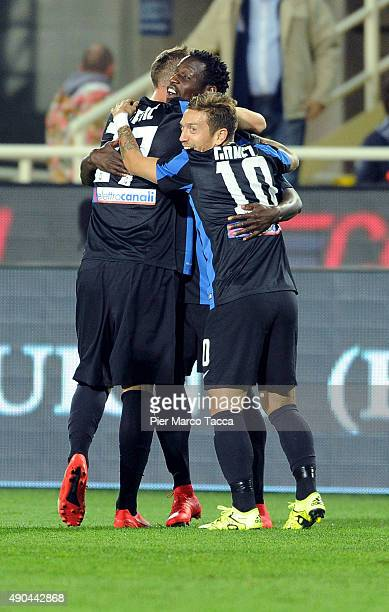 Atalanta players celebrate the first goal during the Serie A match between Atalanta BC and UC Sampdoria at Stadio Atleti Azzurri d'Italia on...