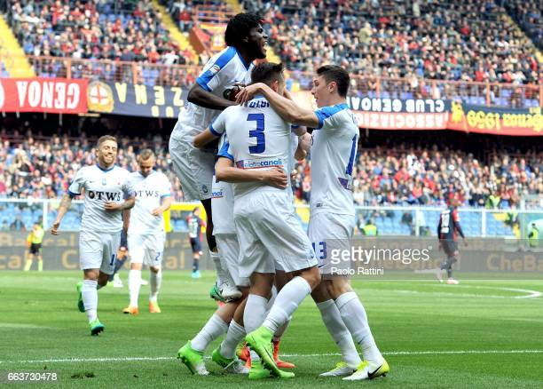 Atalanta players celebrates after goal Andrea Conti 01 during the Serie A match between Genoa CFC and Atalanta BC at Stadio Luigi Ferraris on April 2...