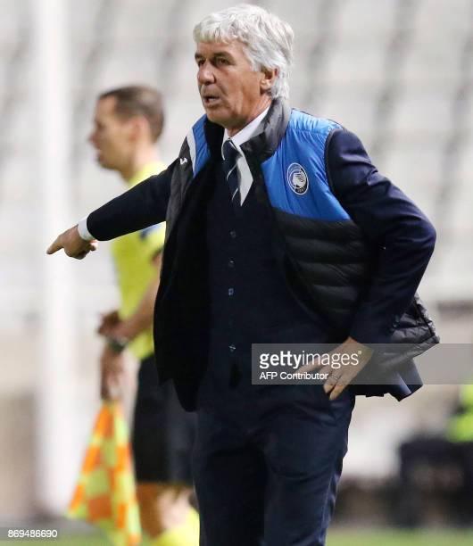 Atalanta's coach Gian Piero Gasperini gestures during the UEFA Europa League football match Apollon Limassol versus Atalanta Bergamasca on November 2...