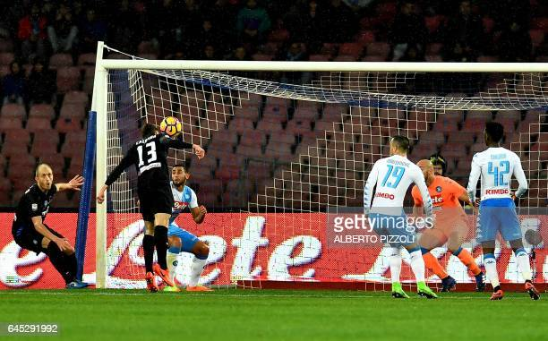 Atalanta's defender Mattia Caldara scores a goal during the Italian Serie A football match Napoli vs Atalanta on February 25 2017 at San Paolo...