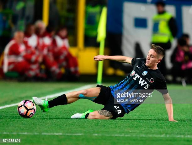 Atalanta's Italian defender Andrea Conti controls the ball during the Italian Serie A football match Atalanta vs Juventus at the 'Atleti Azzurri...