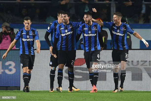 Atalanta's Italian midfielder Bryan Cristante celebrates after scoring a goal during the Italian Serie A football match between Atalanta and Juventus...