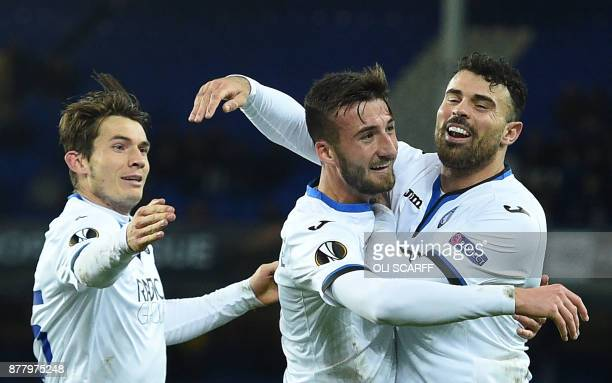 Atalanta's Italian midfielder Bryan Cristante celebrates scoring the team'ssecond goal during the UEFA Europa League Group E football match between...