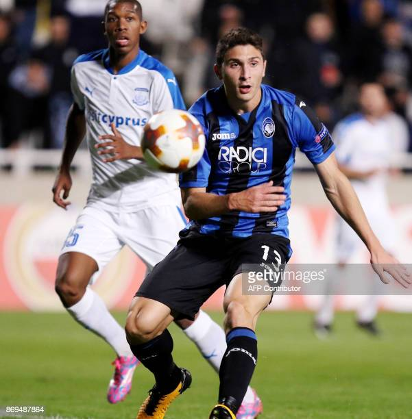 Atalanta's Mattia Caldara vies for the ball against Apollon's Alef during the UEFA Europa League football match Apollon Limassol versus Atalanta...