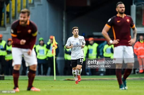 Atalanta's midfielder from Argentina Alejandro Gomez celebrates after scoring during the Italian Serie A football match AS Roma vs Atalanta on...