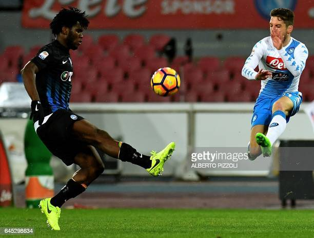 Atalanta's midfielder from Ivory Coast Franck Kessie fights for the ball with Napoli's forward from Belgium Dries Mertens during the Italian Serie A...