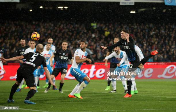 Atalantas player Mattia Caldara scores the 10 goal during the Serie A match between SSC Napoli and Atalanta BC at Stadio San Paolo on February 25...