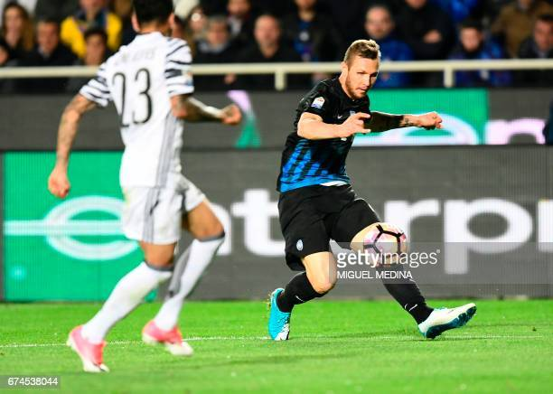 Atalanta's Slovanian midfielder Jasmin Kurtic kicks the ball during the Italian Serie A football match Atalanta vs Juventus at the 'Atleti Azzurri...