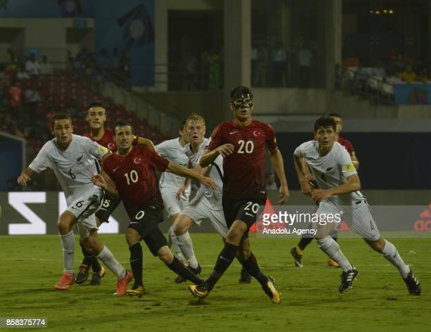 Atalay Babacan of Turkey U17 in action against Leon Hendrik Van Den Hoven of New Zealand U17 during the FIFA U17 World Cup India 2017 football match...
