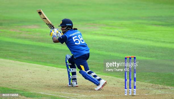 Atapattumu Chamari of Sri Lanka bats during the ICC Women's World Cup 2017 match between New Zealand and Sri Lanka at the Brightside Ground on June...