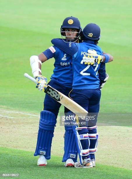 Atapattumu Chamari of Sri Lanka celebrates her half century during the ICC Women's World Cup 2017 match between New Zealand and Sri Lanka at the...