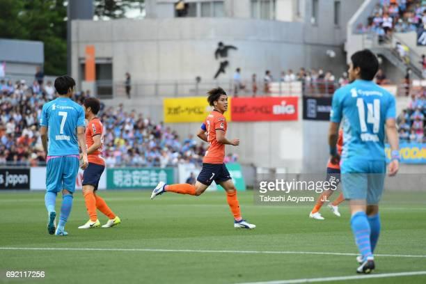 Ataru Esaka of Omiya Ardija celebrates scoring his side's first goal during the JLeague J1 match between Omiya Ardija and Sagan Tosu at NACK 5...