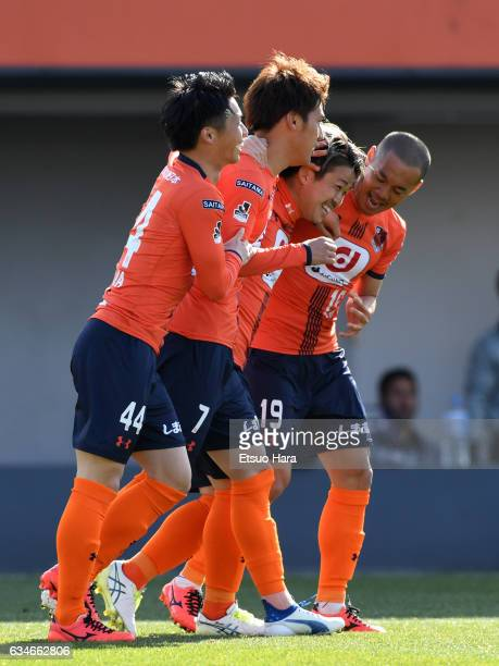 Ataru Esaka#7 of Omiya Ardija celebrates scoring his team's first goal during the preseason friendly between Omiya Ardija and Thespa Kusatsu Gunma at...