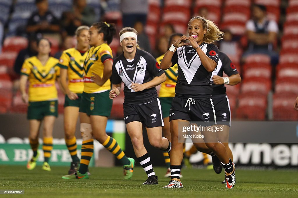 Atawhai Tupaea of the Kiwi Ferns celebrates scoring a try during the Women's international Rugby League Test match between the Australian Jillaroos and New Zealand Kiwi Ferns at Hunter Stadium on May 6, 2016 in Newcastle, Australia.