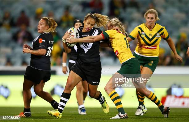 Atawhai Tupaea of the Silver Ferns during the women's ANZAC Test match between the Australian Jillaroos and the New Zealand Kiwi Ferns at GIO Stadium...