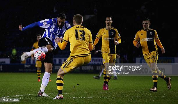 Atdhe Nuhiu of Sheffield Wednesday scores a goal during The Emirates FA Cup Third Round match betwen Sheffield Wednesday and Fulham at Hillsborough...