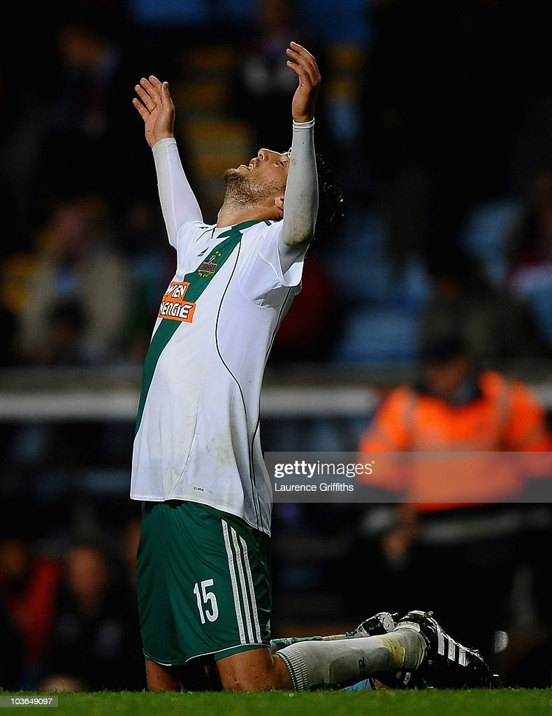 Atdhe Nuhiu of SK Rapid Vienna celebrates on the finall whistle during the UEFA Europa League Play Off, second leg match between Aston Villa and SK Rapid Vienna at Villa Park on August 26, 2010 in Birmingham, England.