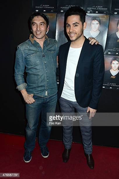 Atef and Alban Bartoli from the Voice attend the Perfect Stranger Atef Show Case At Jane Club on March 03 2014 in Paris France