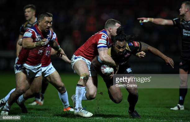 Atelea Vea of Leigh breaks through during the Betfred Super League match between Wakefield Trinity and Leigh Centurions at Belle Vue on March 23 2017...