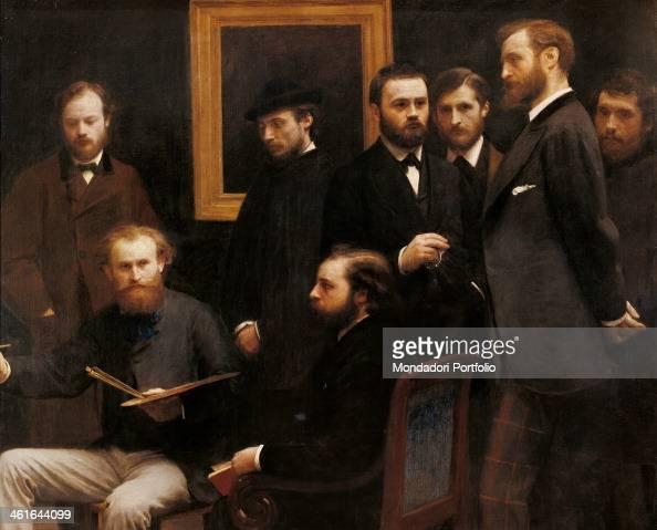 Ateliers des Batignolles by Henri FantinLatour 19th Century oil on canvas France Paris Musée d'Orsay Detail Study of a painter with collegues