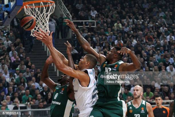 Athanasios Antetokounmpo #43 of Panathinaikos Superfoods Athens competes with Walter Tabares #22 of Real Madrid during the 2017/2018 Turkish Airlines...