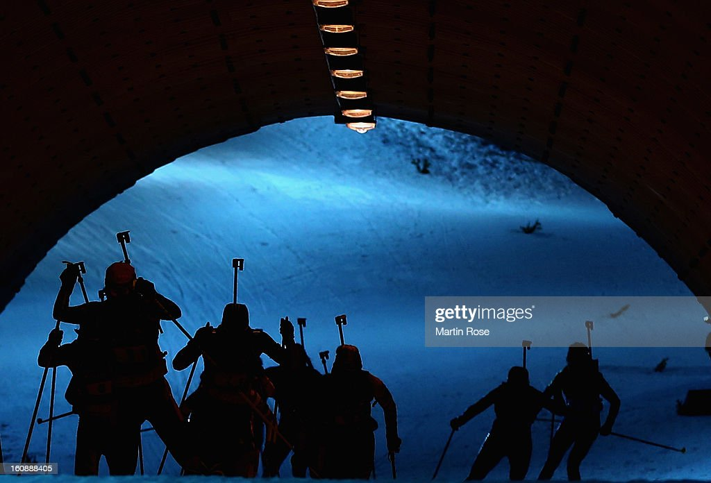 Athelets in action during the IBU Biathlon World Championships Mixed Relay at Vysocina Arena on February 7, 2013 in Nove Mesto Na Morave, Czech Republic.