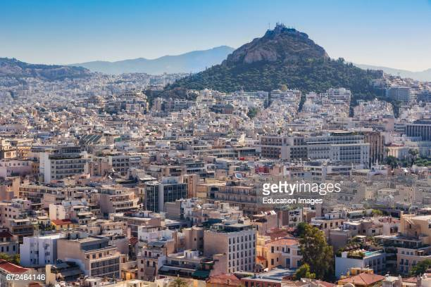Athens Attica Greece View over Athens from the Acropolis to 277 meter high Mount Lycabettus Lycabettos or Lykabettos or Lykavittos crowned by the...