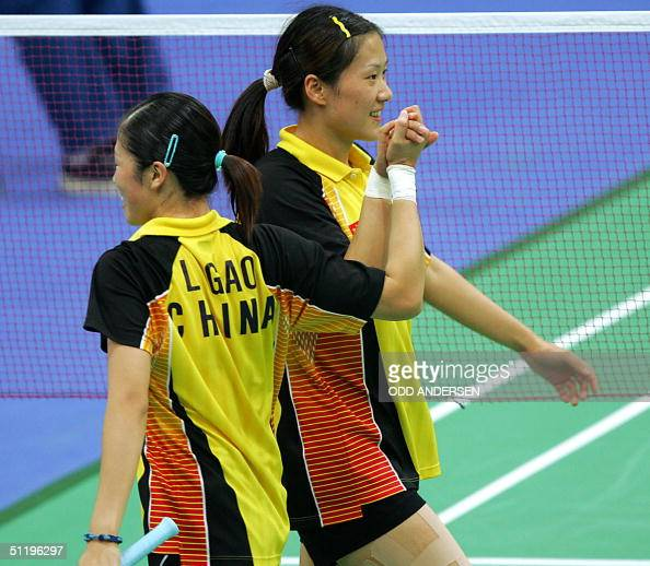 Athens Greece Chinese Badminton Players Huang Sui And Gao Ling After Picture China