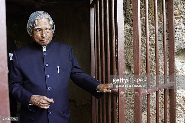 Indian President Abdul Kalam visits the prison of the ancient Greek philosopher Socrates 470399 BC near the Acropolis 27 April 2007 The Indian...