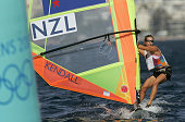 New Zealand surfer Dean Barker sails during the Women's Windsurfer Mistral class Tenth race 23 August 2004 on the Tenth day of 2004 Olympic Games in...