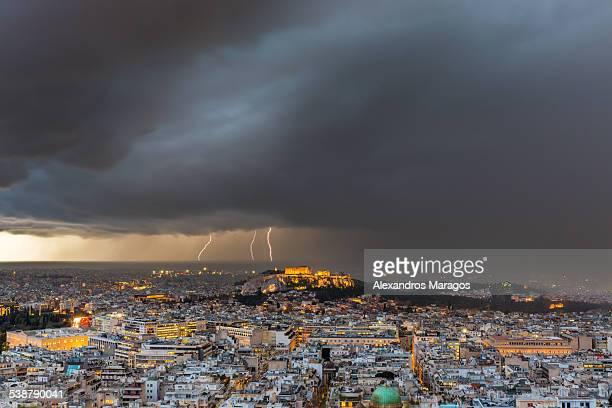 Athens, Greece struck by lightning storm
